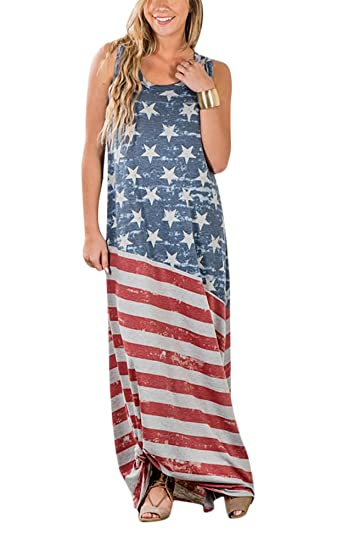 d8a170afd26 Women s Vintage American Flag Print Patriotic Strapless Sleevess Tank Maxi  Dress
