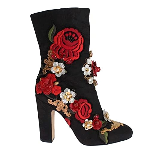 0c1d2161ea Image Unavailable. Image not available for. Color  Dolce   Gabbana Black  Leather Roses Crystal Brocade Heel Boots