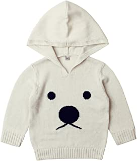 MiMiXiong Baby Sweater Knitted Hoodie Toddler Long Sleeve Bear Pattern Clothes