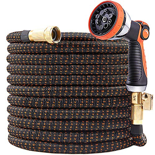 UPGRADED 25ft Expandable Garden Hose, 25 Feet Expanding Garden Hoses Extra Strength 3750D Outdoor Flexible Hose Lightweight Yard Hose,Water Hose with Solid Brass Fittings Durable Spray Pattern Nozzle