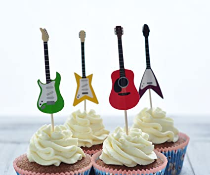 Amazon Com Bebefun Cupcake Toppers Musical Guitar Shape Cupcake
