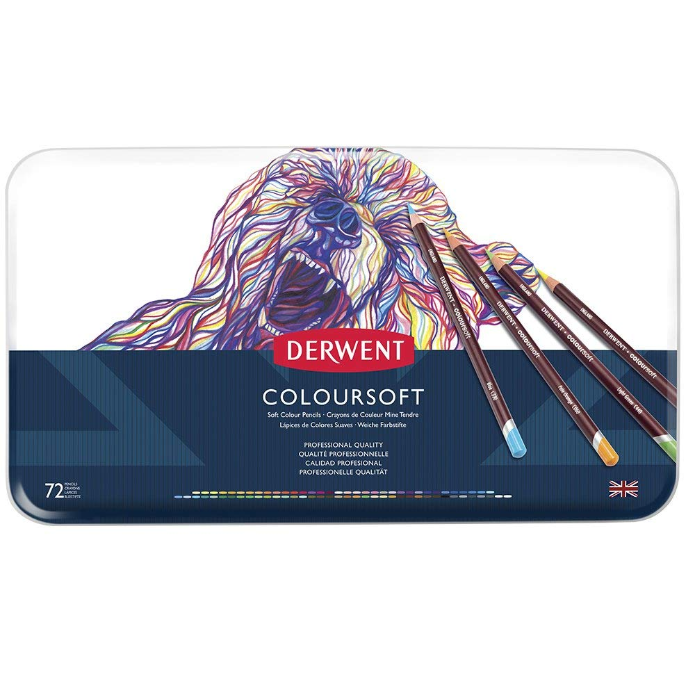 Derwent Colored Pencils, ColourSoft Pencils, Drawing, Art, Metal Tin, 72 Count (0701029) by Derwent