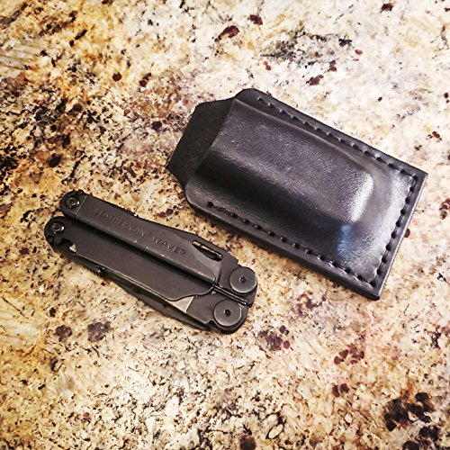 - Leather Knife Sheath for a Leatherman Wave - Friction Fit Hip Carry Holster- Handmade in USA - Bushcraft Outdoors
