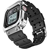 amBand Bands Case Compatible with Apple Watch 44mm, Moving Fortress Rugged Metal Bumper Men Tactical TPU Military Strap Prote