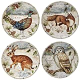 "Certified International 32231SET/4 Winter Lodge 6"" Canape Plates, Multicolor"