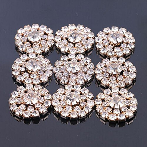 Pack of 10 Flat Back Crystal DIY Rhinestone Conchos for Home Decoration Rose Red