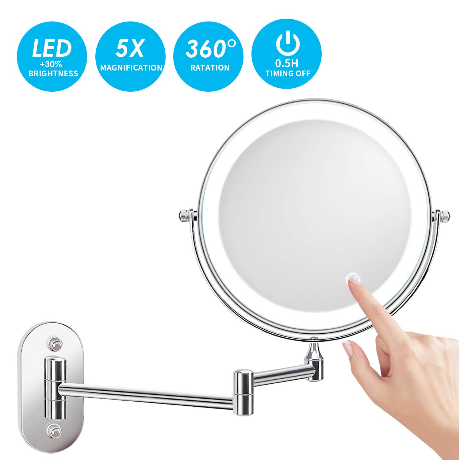 alvorog Wall Mounted Makeup Mirror 8 inches LED Touch Screen Adjustable Light Double Sided 1X/5X Magnifying Vanity Mirror Swivel Extendable