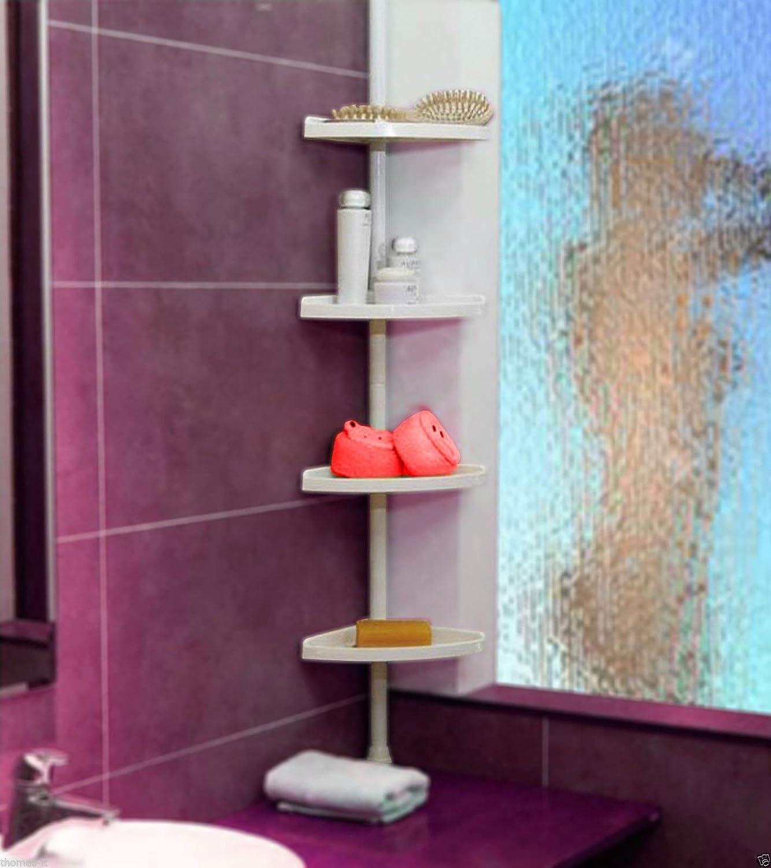 Estante de ducha telesc/ópico para esquina de ba/ño St-08 color blanco GG-LLRM-HCEA de Keraiz 4 niveles, 70 cm-248 cm