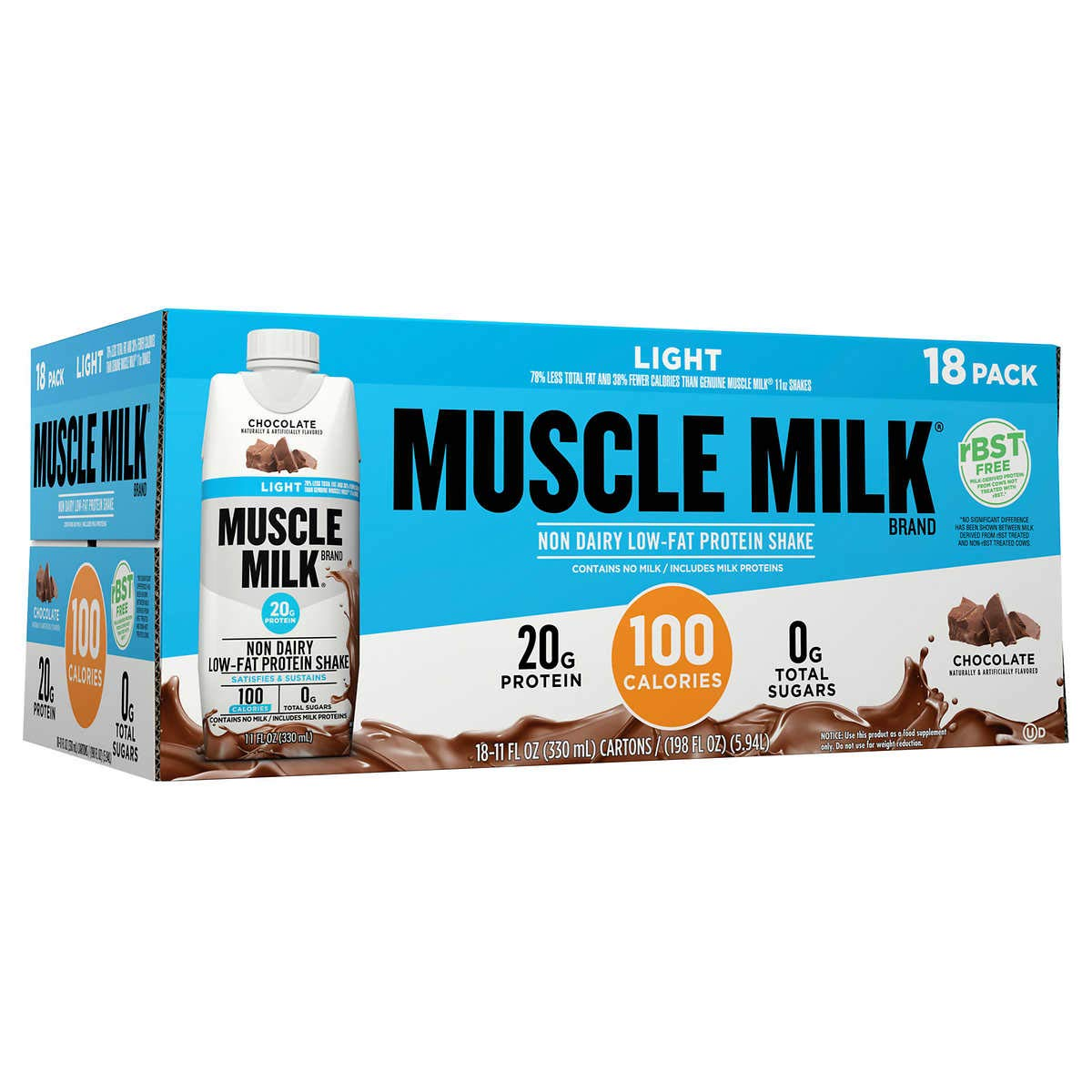 Muscle Milk Light RBST Except More Free Chocolate Protein Shakes 18-Pack, 11 fl oz
