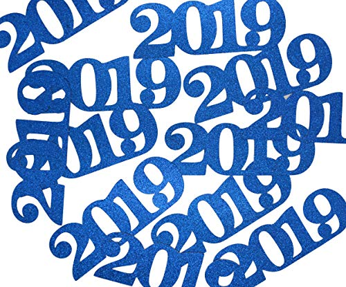 2019 Confetti Glitter for Graduation Party Decorations Graduation Table Decor Class of 2019 High School College Graduation Party Supplies 5.1 inches (Turquoise Blue)]()