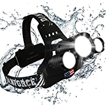 Brightest and Best LED Headlamp American Design 6000 Lumen flashlight-IMPROVED CREE LED Rechargeable 18650 headlight Waterproof Hard Hat Light Bright Head Lights Camping Running headlamps