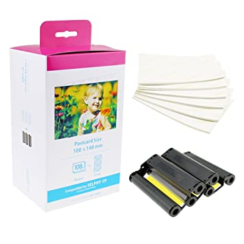 anycolor compatible canon kp 108in color ink toner set 3 ink cartridges and 108 paper - Canon Selphy Color Ink Paper Set