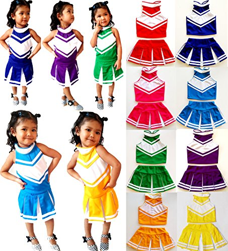 Little-Girls-Cheerleader-Cheerleading-Outfit-Uniform-Costume-Cosplay-Halloween