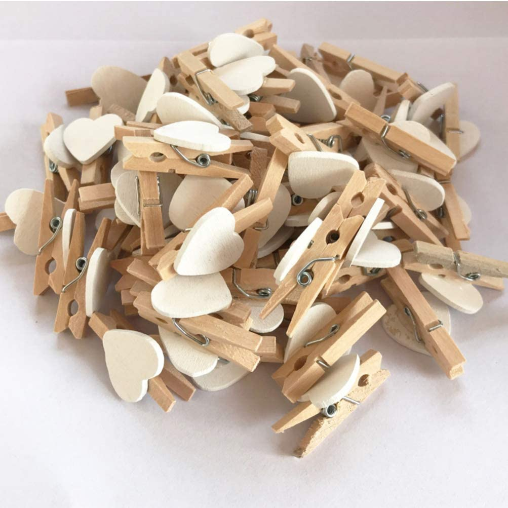 Black +White NUOBESTY 100PCS Wooden Heart Clothespins Colorful Decorative Photo Craft Clips Wooden Craft Clamp Photo Holder Home Party Decor
