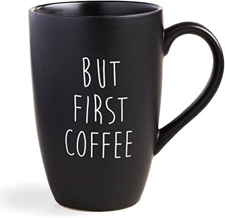 Amazon.com: World Market But First Coffee Mug - Black Matte Finish ...