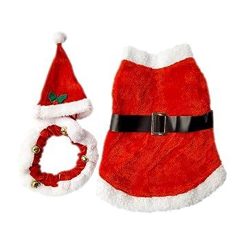 Pet Navidad traje de Papá Noel para perro y gato, con un collar de color rojo sombrero y, para perros pequeños