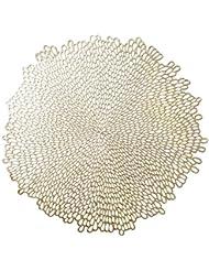 "Benson Mills Blossom Pressed Vinyl Placemat, (Set of 4), 15.5"" , Gold"