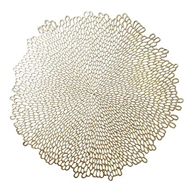 "Benson Mills Blossom Pressed Vinyl Placemat, (Set of 4), 15.5"" , Gold - SIMPLY ELEGANT!  These luxurious pressed vinyl placemats are a MUST HAVE! Very easy to clean.  Wipe clean with a damp cloth. Perfect for any occasion! - placemats, kitchen-dining-room-table-linens, kitchen-dining-room - 613rXpRZABL. SS400  -"