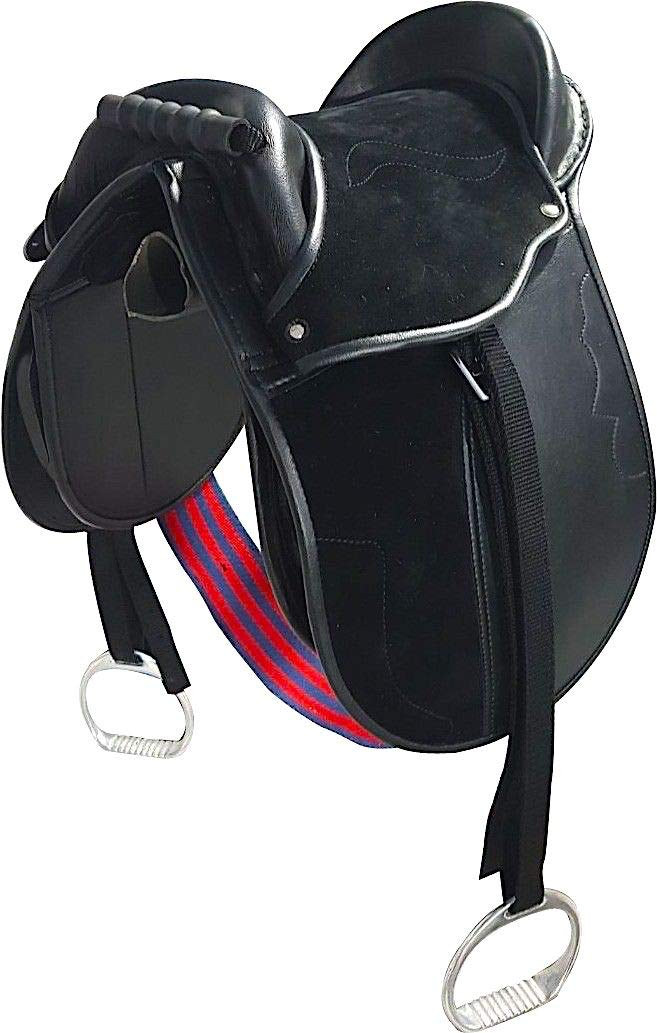 Black 14 Inches Black 14 Inches Cwell Equine Kids PONY PAD Cub Saddle complete with stirrups, girth & Straps (14 Inches, Black)