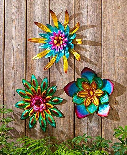 Metal Outdoor Wall Art Metallic Garden Flowers (Combo, 3 Pack)