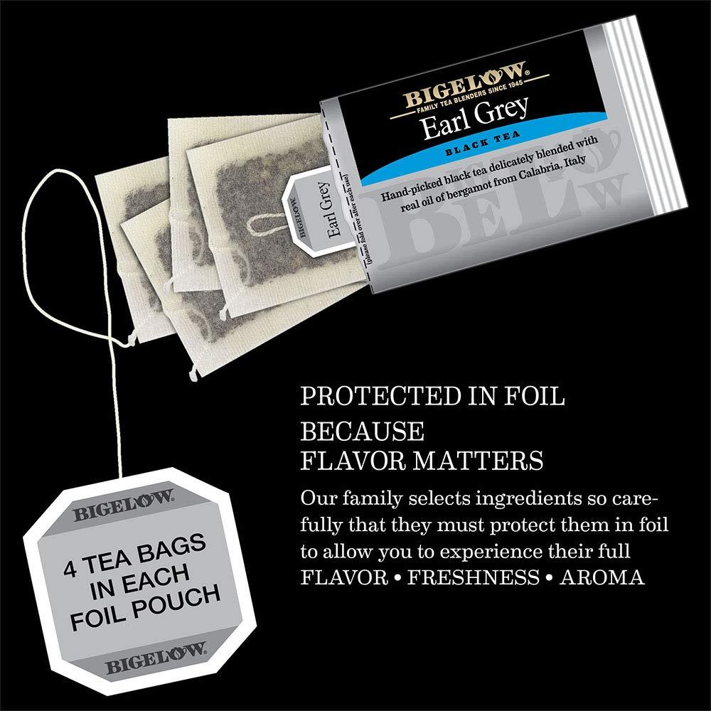 Bigelow Earl Grey Black Tea Bags 40-Count Box (Pack of 6), Caffeinated 240 Tea Bags Total