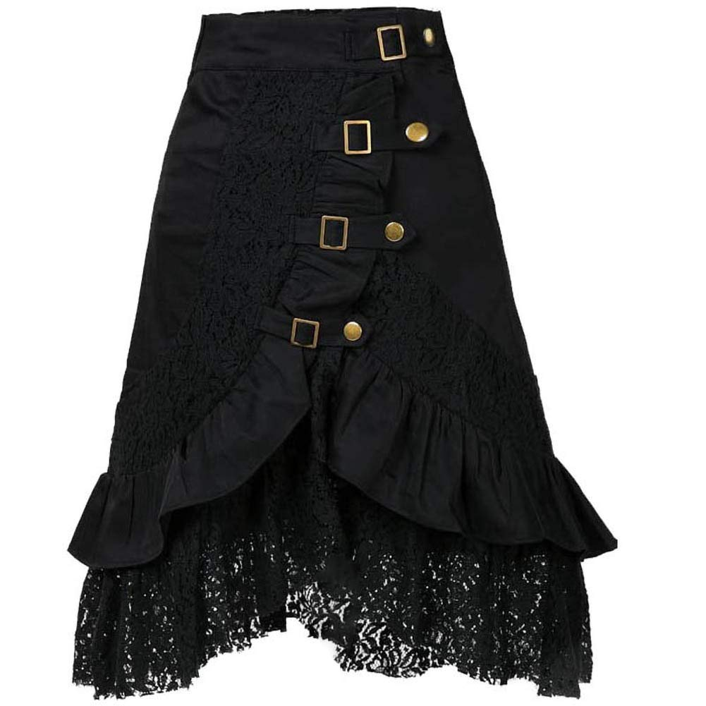 Candow Look Women's Steampunk Gothic Clothing Cotton Lace Skirts Black Gypsy