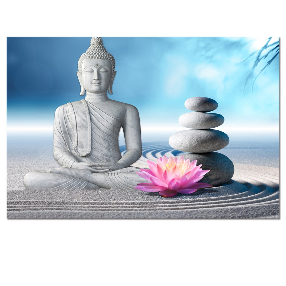 Buddha Canvas Wall Art,Framed and Stretched,Large Size Peaceful Buddha Act with Compassion ,White Sand Zen Stone Canvas Prints,Water-proof,Religious Style Canvas Art (32''x48'') by Visual Art