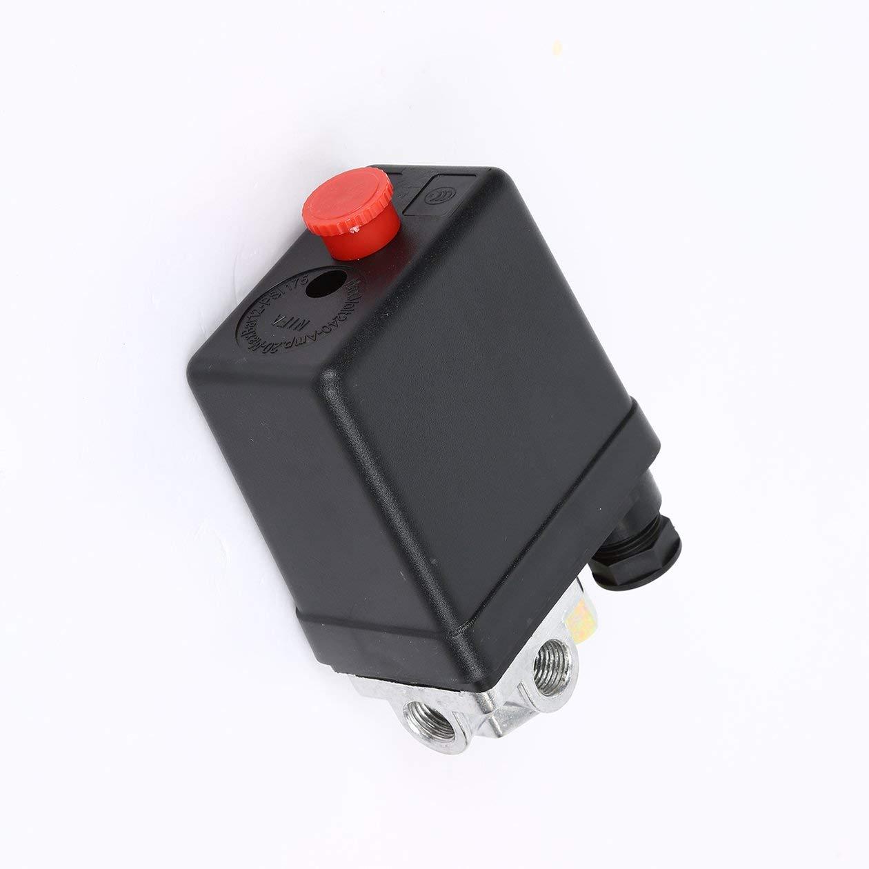 HONZIRY Heavy Duty 240V 16A Control autom/ático Carga//Descarga autom/ática Compresor de Aire Interruptor de presi/ón V/álvula de Control 90 PSI 120 PSI Color: Negro