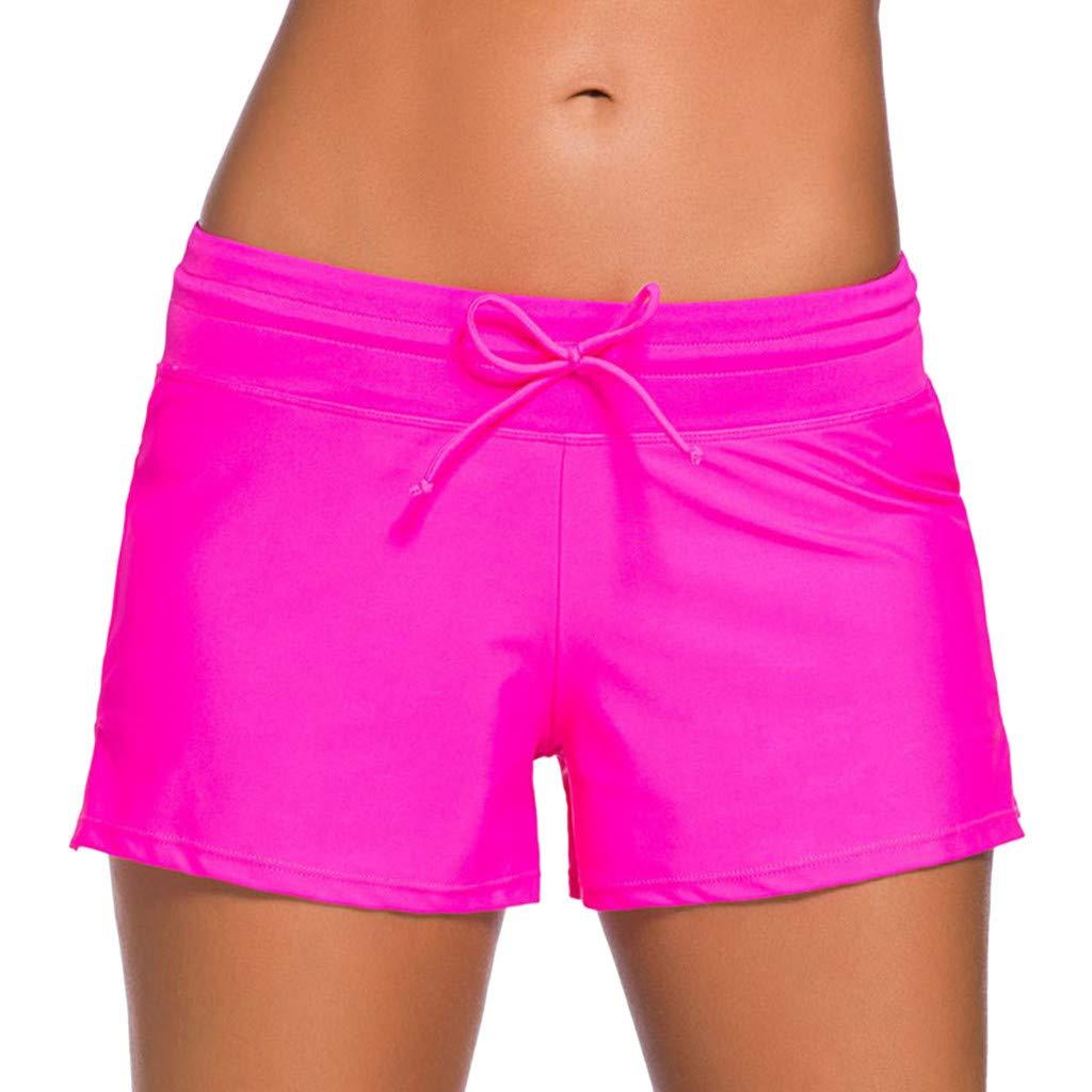 Peize Women Swimsuit Shorts Tankini Swim Briefs Plus Size Bottom Boardshort Summer Swimwear Beach Trunks for Girls Hot Pink by Peize