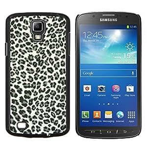 EJOOY---Cubierta de la caja de protección para la piel dura ** Samsung Galaxy S4 Active i9295 ** --Los puntos del leopardo Patrón Negro Piel Blanca Bling Posh