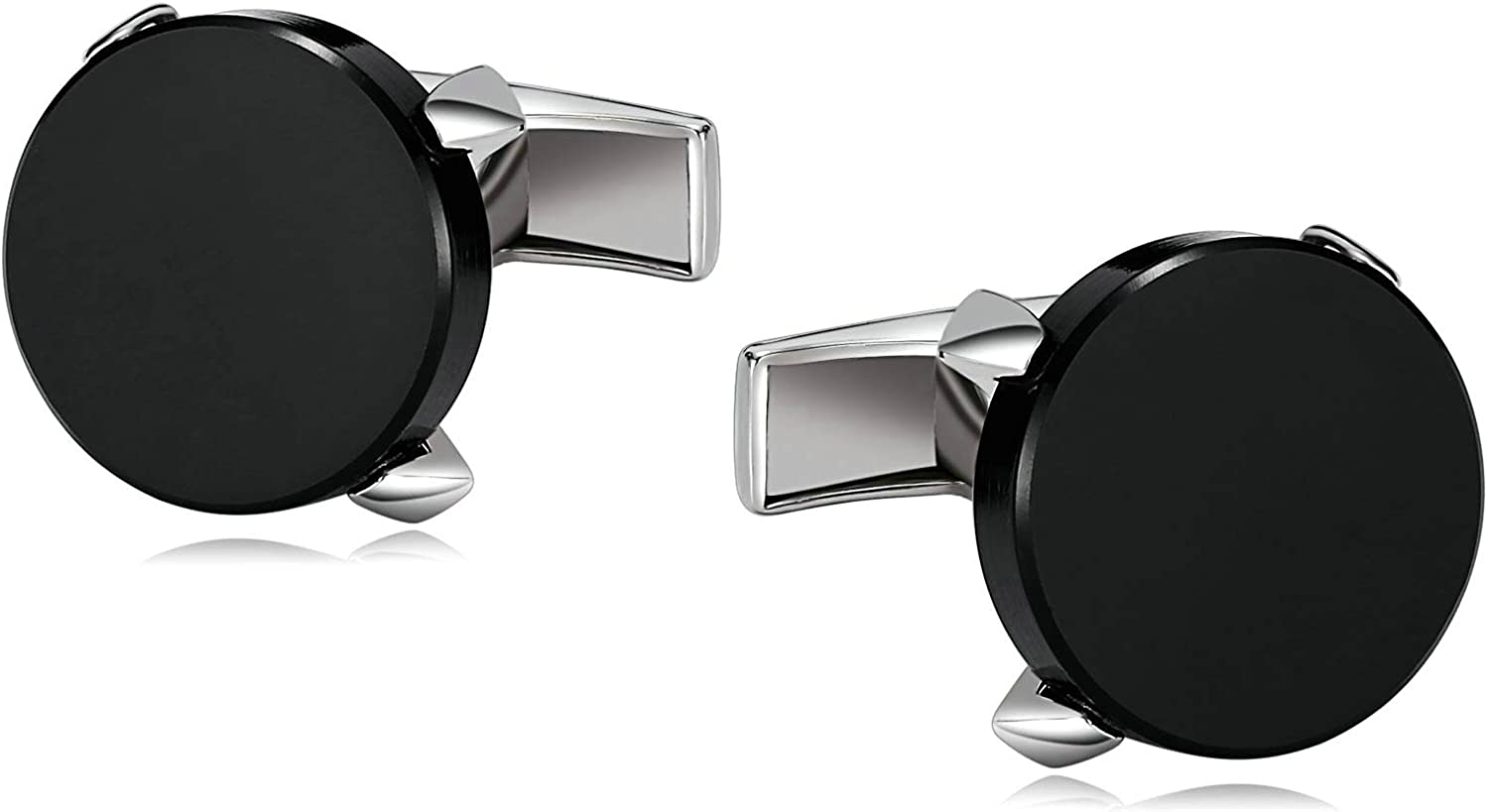 Adisaer Mens Stainless Steel Cuff Links Black Four Claw Round Mens Dress Cufflinks Business Wedding Gift