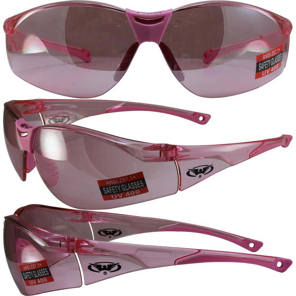 Global Vision Cruisin Safety Motorcycle Sunglasses Clear Pink Frames with Matching Pink Lenses