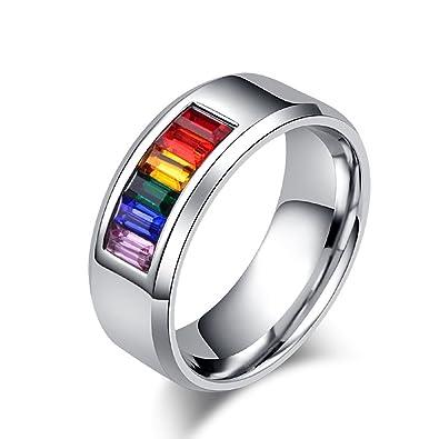 Jajafook Stainless Steel Rings Mens Womens Wedding Gay Pride Lgbt