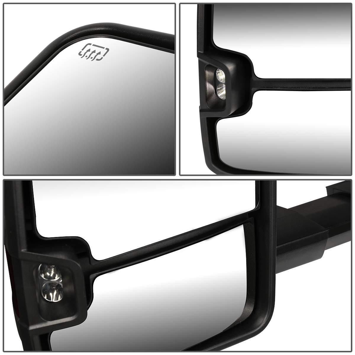 Pair Powered+Heated+LED Turn Signal Tow Towing Mirror for Chevy Silverado Tahoe GMC Sierra Yukon 99-02