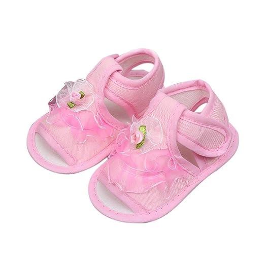 Kimanli Newborn Baby Sandals Infant Girls Soft Sole Anti-slip Sneakers Shoes  Flower (0