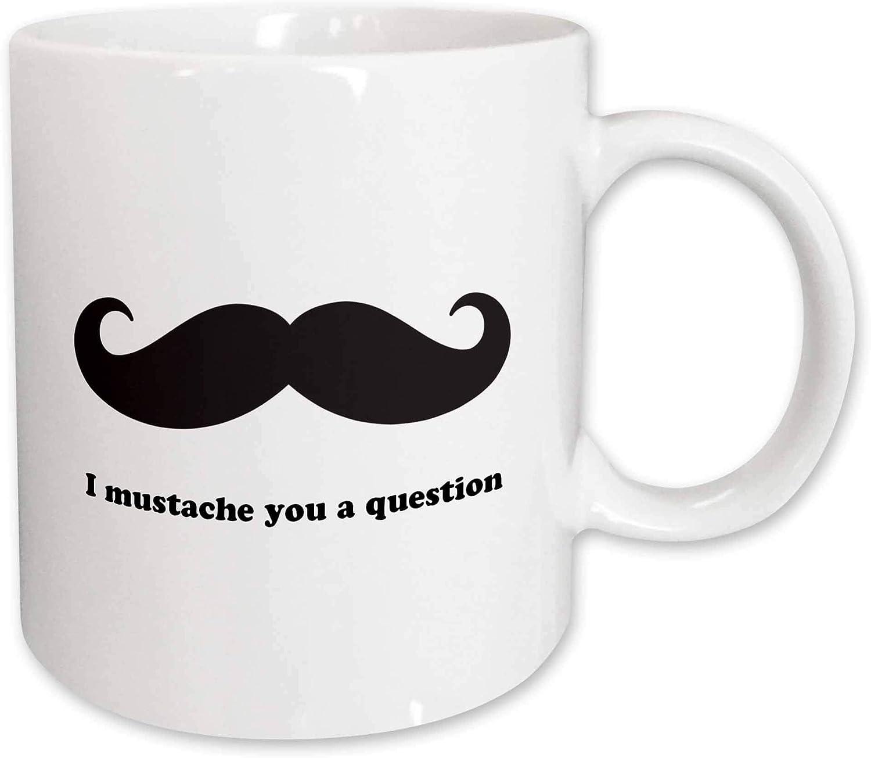 Amazon Com 3drose I Mustache You A Question Ceramic Mug 15 Oz White Kitchen Dining