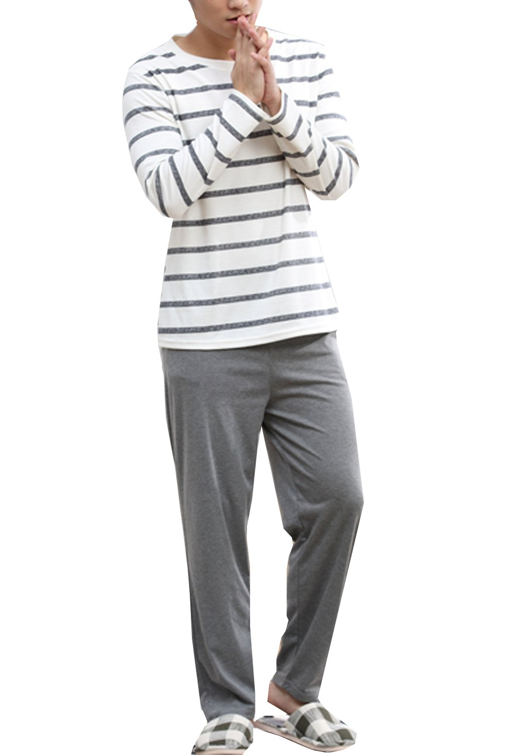 Big Boys Fashion Striped Long Sleeve Cotton Pajamas Set 2 Pieces(11y-17y)