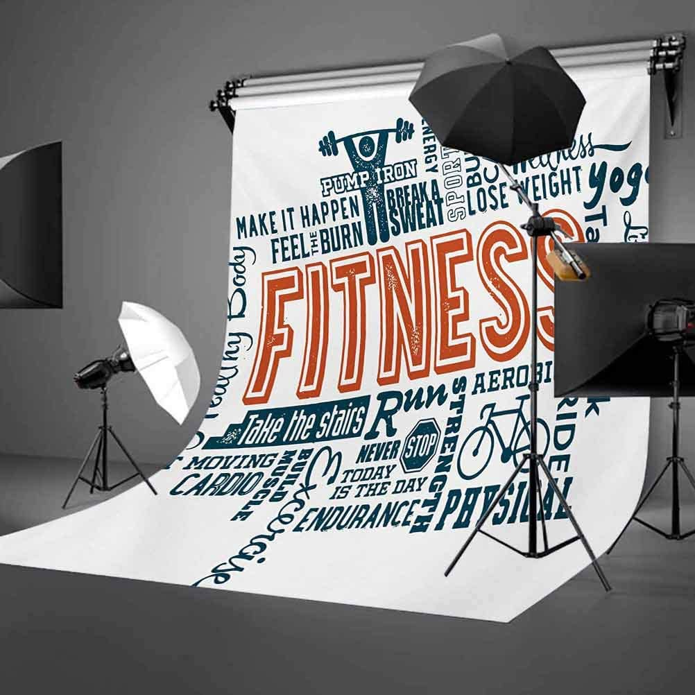 Fitness 10x12 FT Photo Backdrops,Fitness Related Words with Retro Style Typography Active Lifestyle Background for Baby Shower Bridal Wedding Studio Photography Pictures Orange Dark Blue White
