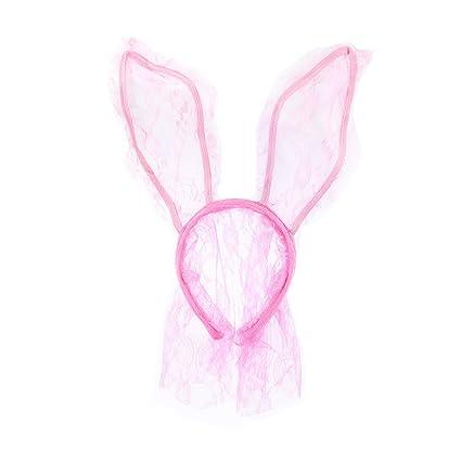 LUOEM Diadema Orejas Conejo Rosa con Velo Máscara de Conejo de Encaje Accesorio Disfraz de Conejo