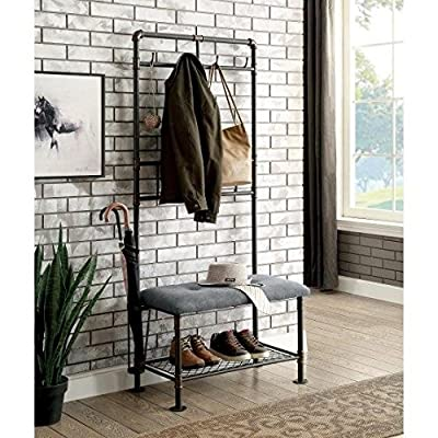 By Home Design Entryway Bench Coat Rack-Black Copper Metal Small Hall Trees Bench Coat Racks - STORAGE BENCHES FOR ENTRYWAY - Add A Touch Of Urban-Chic To Your Décor With The Industrial Style Small Coat Rack Bench, COAT HANGER STAND - A Versatile Addition To Your Foyer Or Mudroom. SHOE BENCH ENTRYWAY - This Coat Rack Bench Is Crafted Of Sturdy Metal With A Dual Finish Of Black And Copper With A Lighter, Padded, Upholstered Bench Seat. - hall-trees, entryway-furniture-decor, entryway-laundry-room - 613rbg ei8L. SS400  -