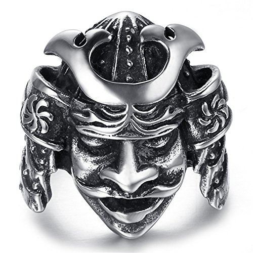 Cherryn Jewelry Luxury Brand Men Ring Stainless Steel Men Jewelry Ring Japanese Bushido Samurai Helmet Warrior Punk