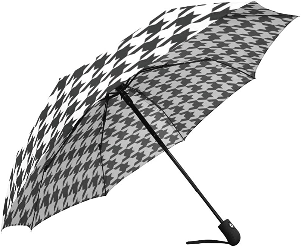 INTERESTPRINT Classical Black and White Houndstooth Checkered Pattern 100/% Polyester Pongee Windproof Fabric Travel Umbrella Compact Automatic Open and Close Folding UV and Rain Umbrella