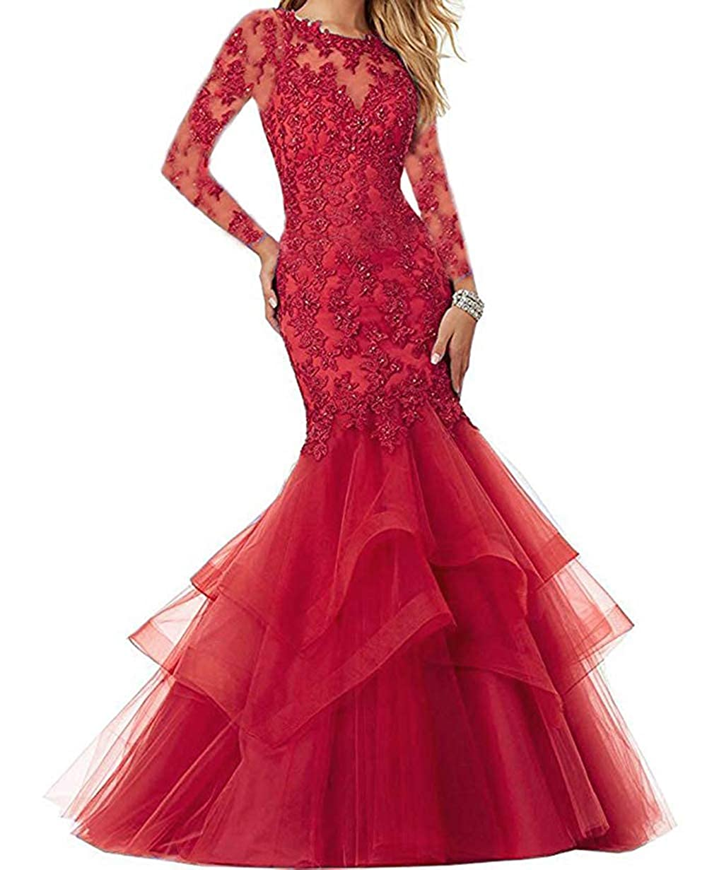 Dark Red Women's Mermaid Prom Dresses Beaded Lace Appliques Formal Evening Gowns Long Sleeves
