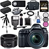 Canon EOS 5D Mark IV DSLR Camera with 24-70mm f/4L Lens 1483C018 EF 50mm f/1.8 STM Lens 0570C002 + LPE-6 Lithium Ion Battery + Sony 128GB SDXC Card Bundle