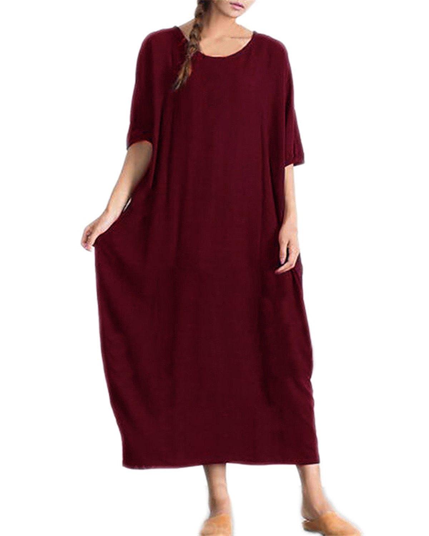 d935a54b0b3ecd Kidsform Robe Bohême Longue Grande Taille Femme Chic Robe en Vrac ...