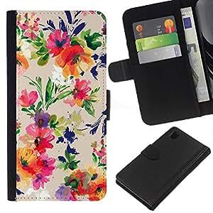 KLONGSHOP // Tirón de la caja Cartera de cuero con ranuras para tarjetas - Ramo de la flor del patrón Wallpaper - Sony Xperia Z1 L39 //