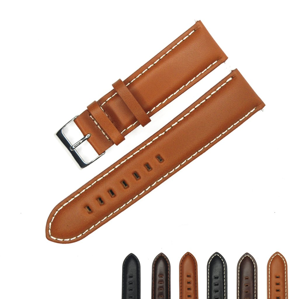 YqI Genuine Leather Watch Band for Men and Women ( 20 mm , 22 mmまたは24 mm )  Light brown with white thread 22mm B06XXJLFYC