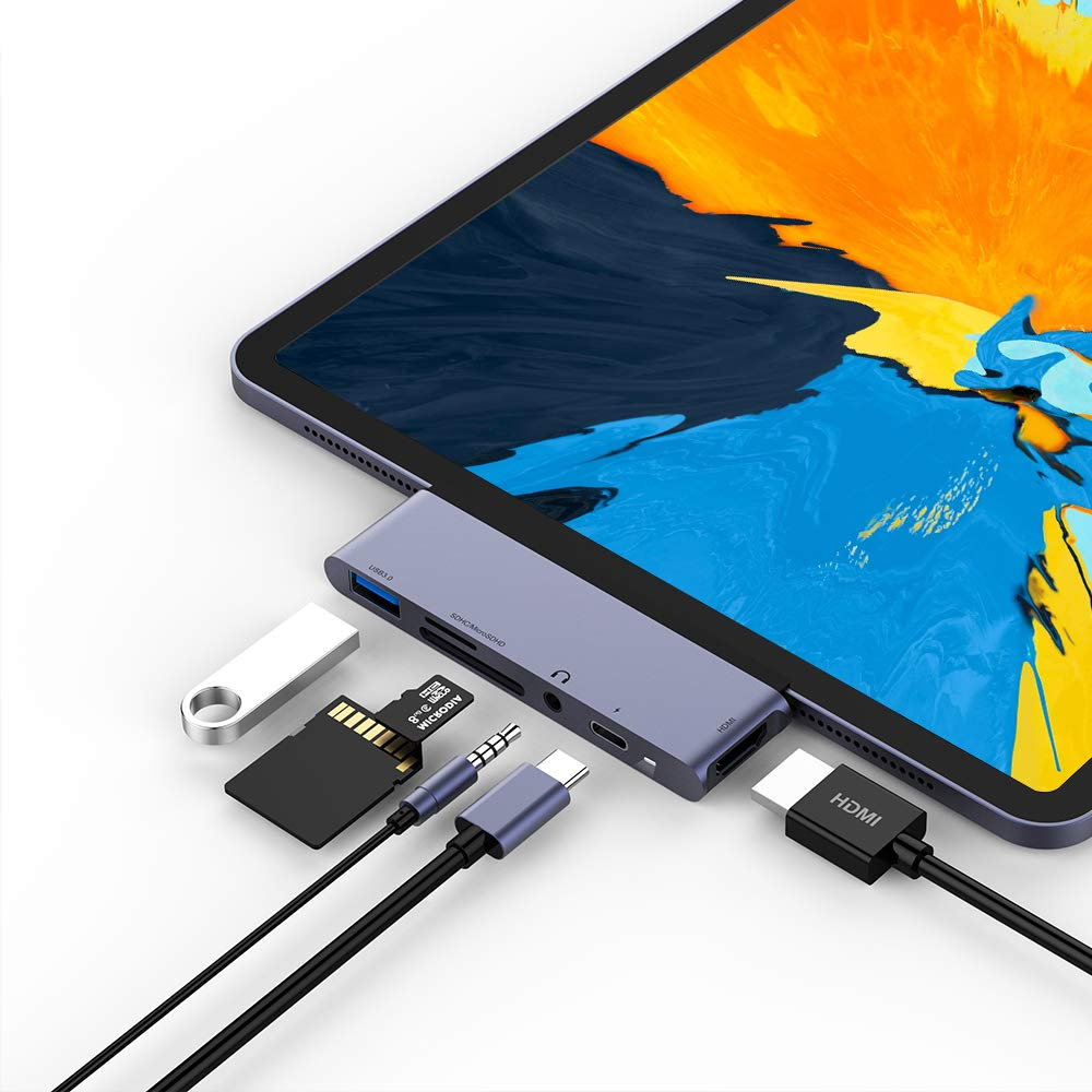 USB C Hub for iPad Pro 2018, 6 in 1 USB C to 4K HDMI Adapter with USB3.0, SD/TF Card Reader, 3.5mm Headphone Jack, PD Charging, HDMI Converter Compatible with iPad Pro 11''/12.9'' 2018 & MacBook Pro by RAYROW