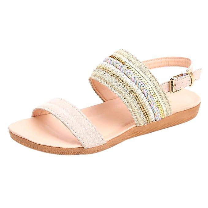 Damen Keil Sandalen Flip Flops Sommer Schuhe Spitze Offener Zeh Leicht Hausschuhe,White,36
