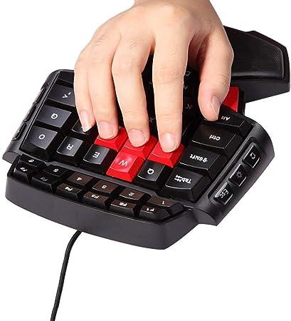 MOSTOP Keybaord Teclado de una Mano portátil Mini Gaming Teclado Ergonómico Controlador de Juego para LOL/Wow/Dota